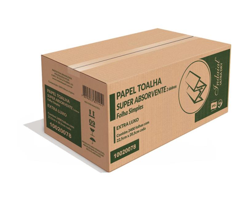 PAPEL TOALHA INTERFOLHADO – 2 DOBRAS – INDAIAL ULTRA DRY – 22,5X20,5CM – CAIXA COM 2.400 FOLHAS