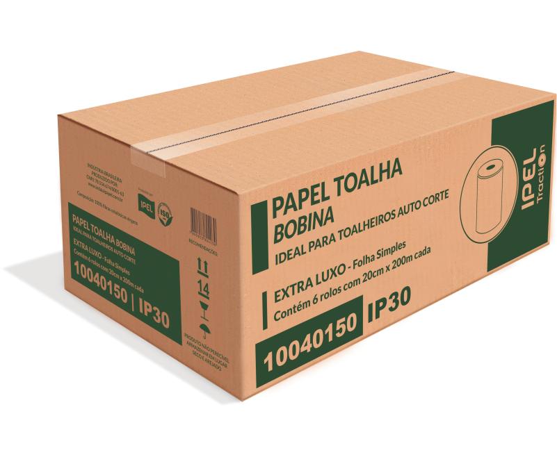 PAPEL TOALHA BOBINA – IP30 – INDAIAL TRACTION FOLHA SIMPLES – CAIXA COM 6 BOBINAS DE 200 METROS