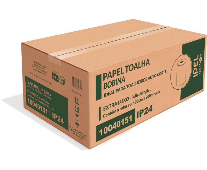 PAPEL TOALHA BOBINA – IP24 – INDAIAL TRACTION – FOLHA SIMPLES – CAIXA COM 6 BOBINAS DE 200 METROS