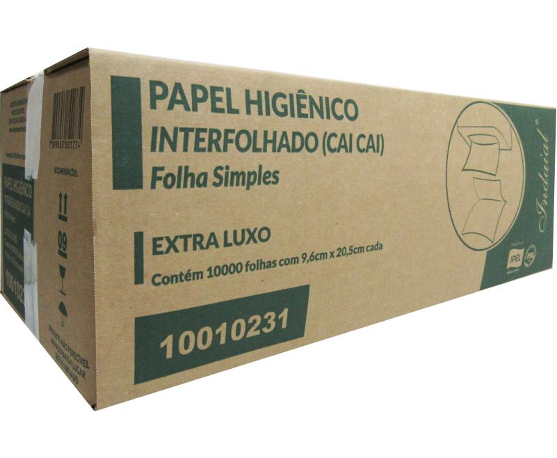 PAPEL HIGIÊNICO INTERFOLHADO (CAI CAI) INDAIAL  – FOLHA SIMPLES LUXO – CAIXA COM 10.000 FOLHAS