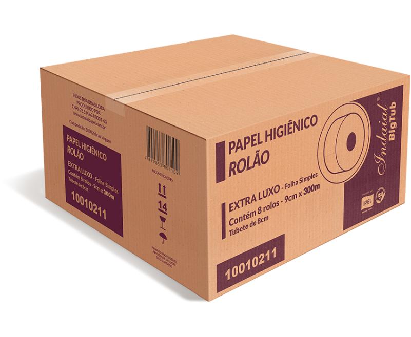 PAPEL HIGIÊNICO ROLÃO – INDAIAL BIG TUBE – FOLHA SIMPLES – CAIXA COM 8 ROLOS DE 300 METROS